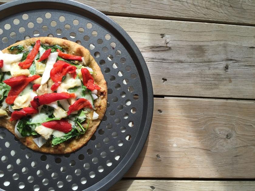 Spinach Artichoke Naan Pizza